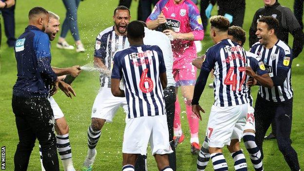 West Bromwich Albion celebrate promotion