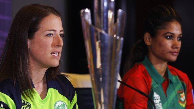 Ireland's Isobel Joyce and Bangladesh's Jahanara Alam with the Women's World Twenty20 trophy