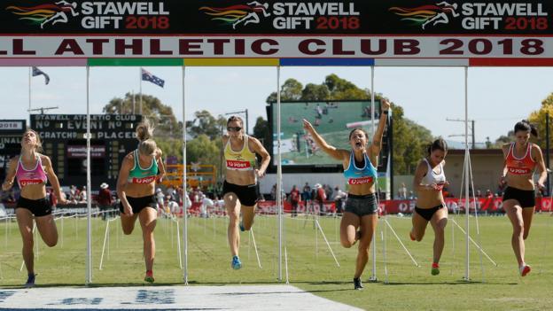 Elizabeth Forsyth wins the Women's Stawell Gift on April 2, 2018 in Stawell, Australia.