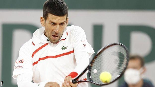 Novak Djokovic returns in French Open first-round match against Mikael Ymer