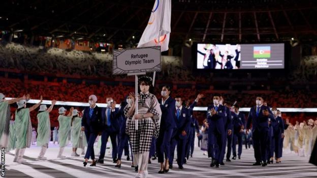 L'équipe olympique des réfugiés à la cérémonie d'ouverture des JO de Tokyo