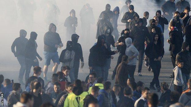 Fans outside the stadium in Lyon