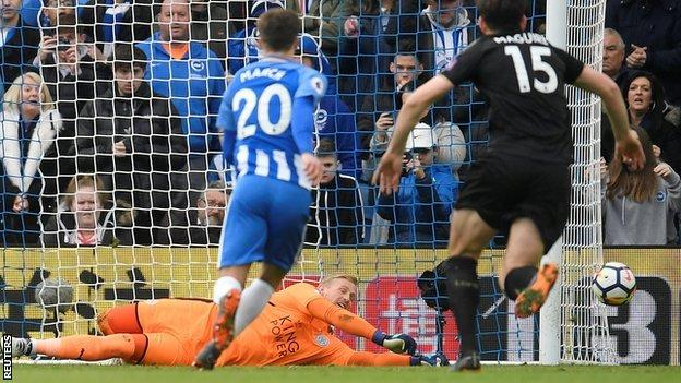 Kasper Schmeichel saves Glenn Murray's penalty.