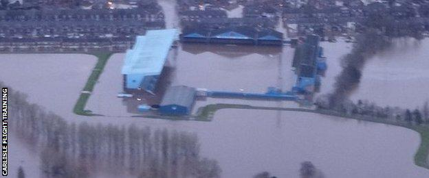 Carlisle United's Brunton Park under water