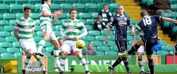Stewart Murdoch thunders in the equaliser for Ross County against Celtic