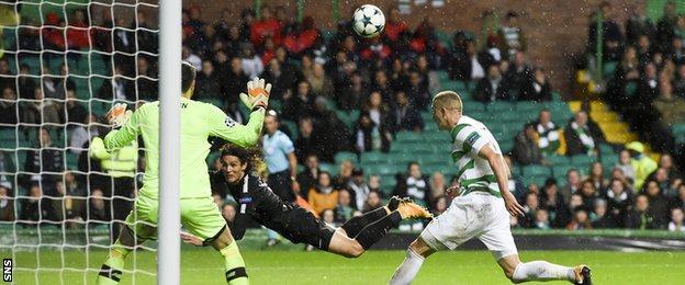 Edinson Cavani scores for Paris St-Germain against Celtic