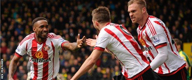Jermain Defoe scored one and assisted one in Sunderland's 3-0 win over relegation rivals Norwich on Saturday
