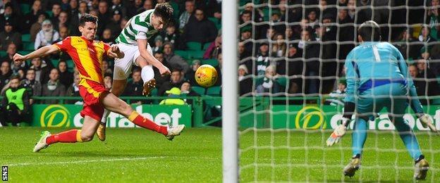 Kieran Tierney scores for Celtic
