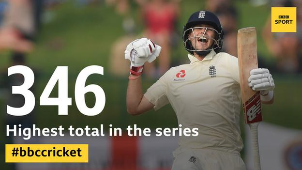 Graphic showing the highest total in England's series win in Sri Lanka was 346
