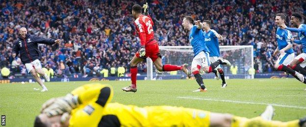 Celtic's Craig Gordon is left in despair against Rangers