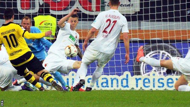 Henrikh Mkhitaryan scores for Borussia Dortmund