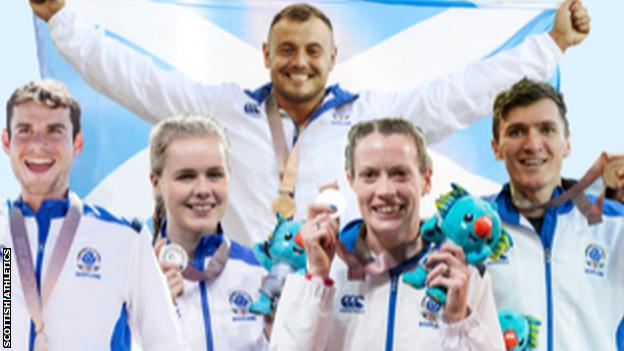 Athletes (from top, in clockwise order) Mark Dry, Jake Wightman, Eilidh Doyle, Maria Lyle and Robbie Simpson