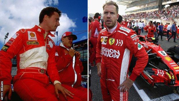 Eddit Irvine and Sebastian Vettel
