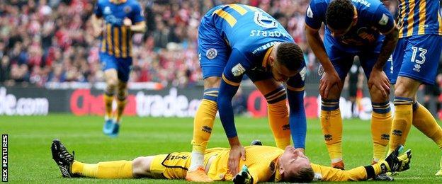Shrewsbury goakleeper Dean Henderson on the floor after his collision with Lincoln's Matt Rhead