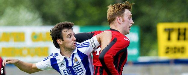 Liam Craig (right) in action for St Johnstone against Real Sociedad