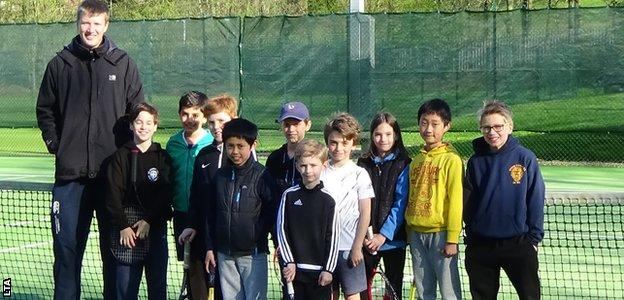 Coach John Heppell and kids at Durham Archery Lawn Tennis Club