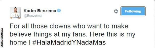 Karim Benzema tweet