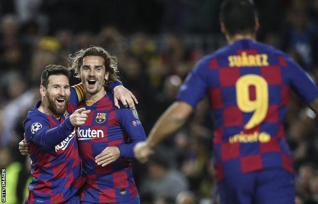 Lionel Messi, Antoine Griezmann and Luis Suarez