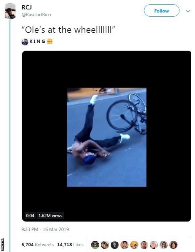 Tweet saying 'Ole's at the wheel' with a person falling off a bike