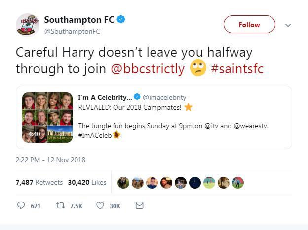 """Southampton's tweet about Harry Redknapp, which says: """"Careful Harry doesn't leave you halfway through to join Strictly Come Dancing"""""""
