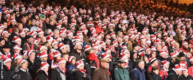 Fans get in the festive mood during the Premier League match between Crystal Palace and Southampton at Selhurst Park last Boxing Day