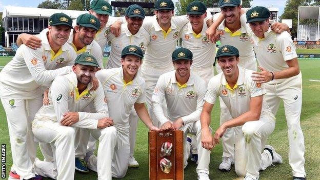 Australia celebrate winning the series against Sri Lanka