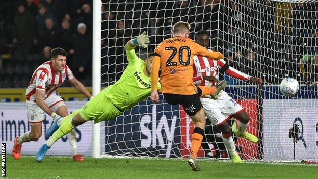 Hull's Jarrod Bowen scores against Stoke