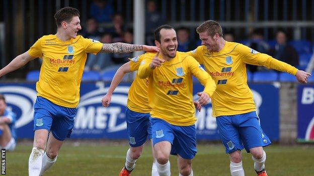 Ballymena players celebrate one of their four goals against Dungannon