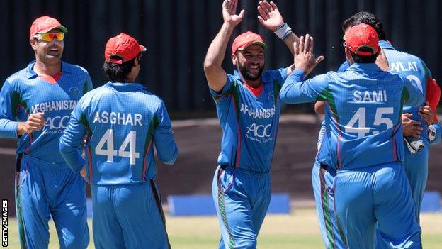 Afghanistan celebrate a wicket against Zimbabwe