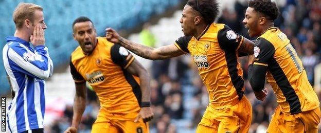 Abel Hernandez celebrates his equaliser against Sheffield Wednesday