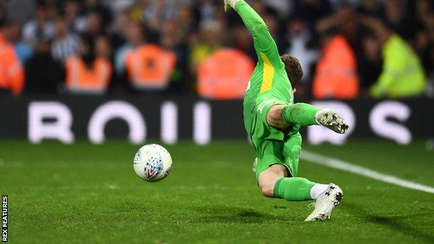 Jed Steer saves a penalty