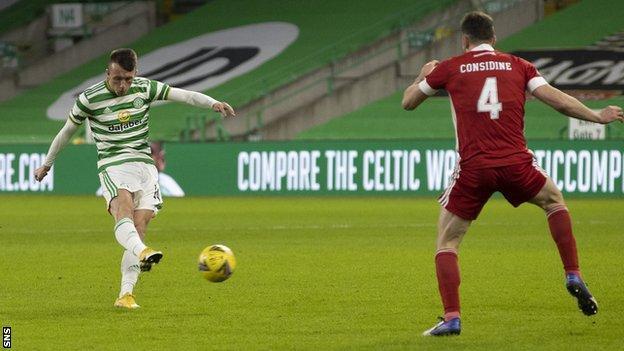 David Turnbull scores for Celtic against Aberdeen