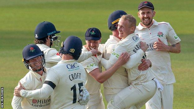 Lancashire celebrate beating Northamptonshire