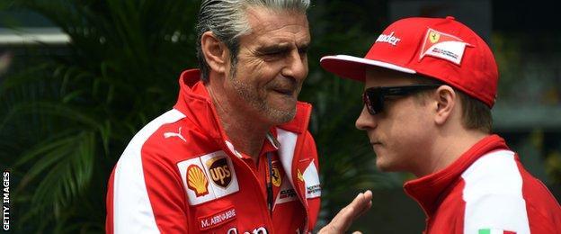 Ferrari team boss Maurizio Arrivabene and Kimi Raikkonen
