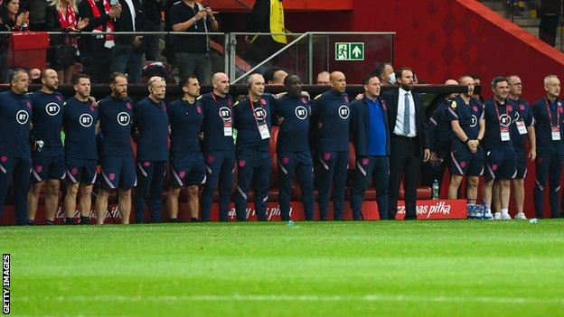 England manager Gareth Southgate and some of his backroom team