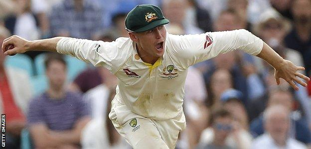 Australia batsman Marnus Labuschagne celebrates after taking a catch against England in the final Ashes Test at The Oval