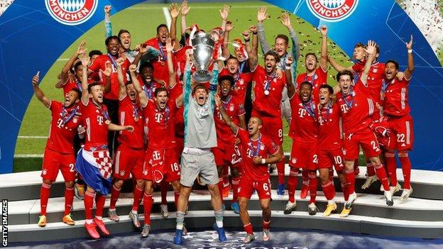 Bayern Munich lifting the Champions League trophy