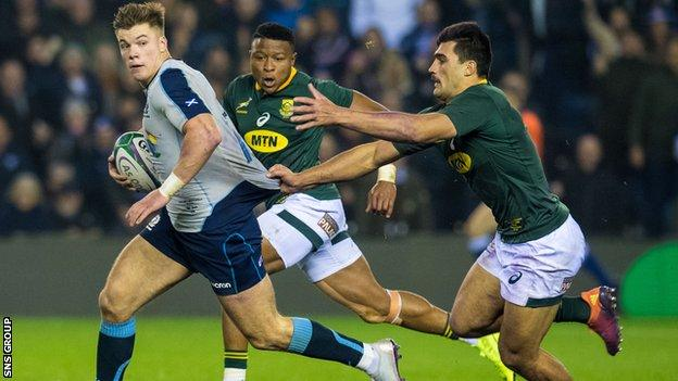 Scotland last played South Africa in November 2018, losing 26-20 at Murrayfield