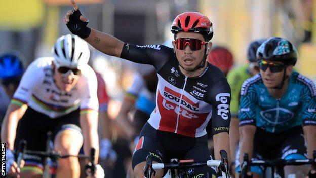 Caleb Ewan celebrates winning stage 11 of the 2020 Tour de France