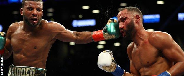 Badou Jack and James DeGale fight action