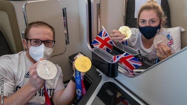 Jason and Laura Kenny on flight home