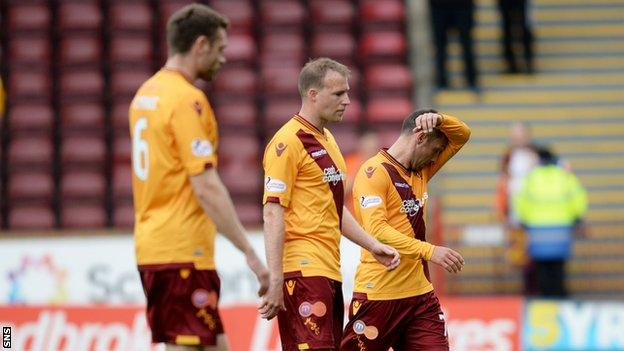 Motherwell players looking dejected