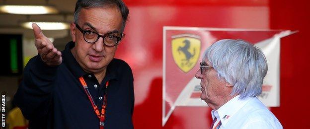 Ferrari's president Sergio Marchionne and F1 chief executive Bernie Ecclestone