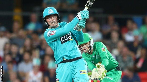 Brisbane Heat batsman Tom Banton plays a shot against Melbourne Stars in the Big Bash League