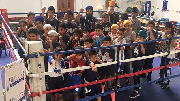 Young boxers at the Khalsa Akhara Coventry boxing club