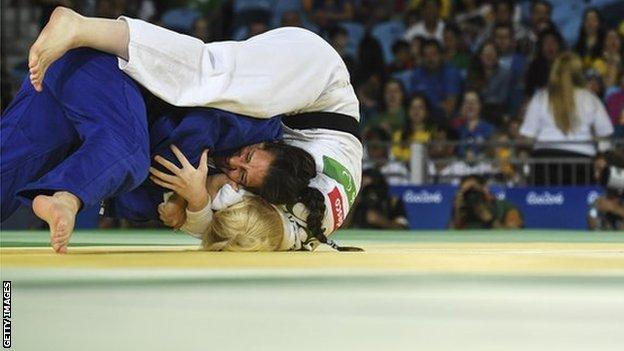 Lucija Breskovic of Croatia (white) battles with Naomi Soazo of Venezuela (blue) Womens - 70kg Judo Bronze Medal bout at the Rio Paralympic Games