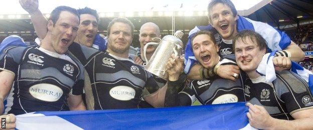Scotland celebrate winning the 2008 Calcutta Cup