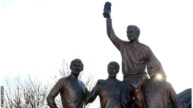 Bobby Moore, Geoff Hurst, Martin Peters and Ray Wilson feature in a statue near West Ham's former stadium
