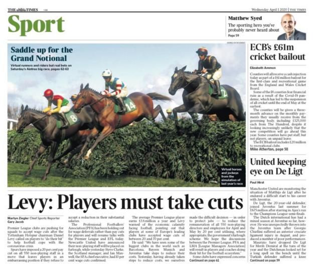 Times back page for Wednesday, 1 April 2020
