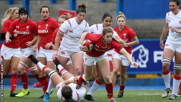 Lisa Neumann scored one of Wales' three tries against Canada
